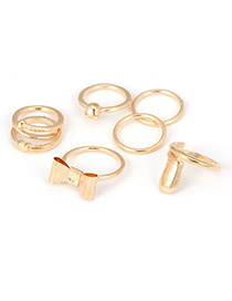 Vintage Gold Color Round Shape Gemstone Decorated Ring Sets (5pcs)