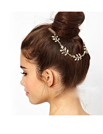 Fashion Dark Coffee Pure Color Decorated Weaving Design Simple Hair Band