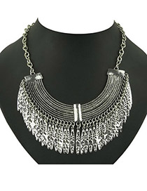 Snowboardi Antique Silver Leaves Tassel Design Alloy Bib Necklaces