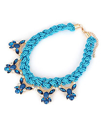 Stretch Blue Bee Pendant Design Braided Rope+Cz Diamond Korean Necklaces
