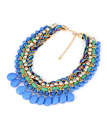 Montgomery Blue Exquisite Weave Design Alloy Korean Necklaces