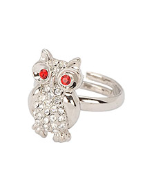 Stronglite Silver Color Diamond Decorated Owl Shape Design Alloy Fashion Rings