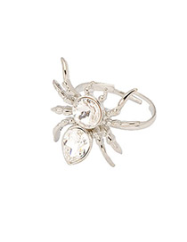 Apparel Silver Color Diamond decorated Spider Shape Design Alloy Fashion Rings