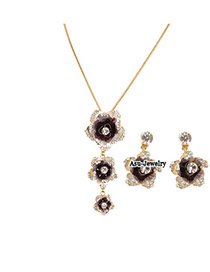 Fitness Purple Rosa Chinensis  Design Alloy Jewelry Sets
