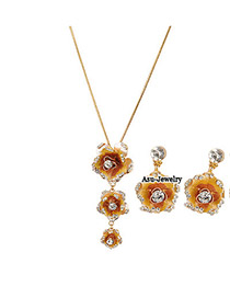 Maxi Champagne Champagne Rosa Chinensis  Design Alloy Jewelry Sets