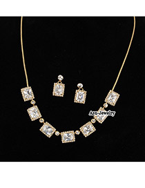 Nameplate White Square Shape Design Czech Diamond Jewelry Sets