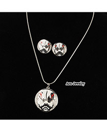 Korean personality fashion Beijing Opera Facial Masks pendant charm necklace earrings set (Silver)