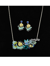 Slim Blue Flower  Design Alloy Jewelry Sets