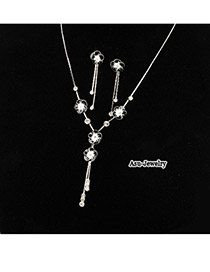 Korean elegant fashion flower tassels decorated with CZ diamond banquet necklace earrings set