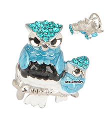 Brown Blue Owl Alloy Fashion Rings