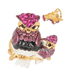 Wool Plum Red Owl Alloy Fashion Rings