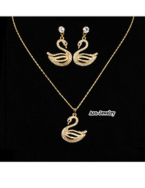 Nautical Champagne Champagne Swan  Design Czech Diamond Jewelry Sets