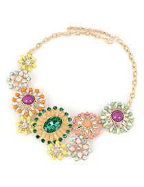 Sparking Multicolor Flower Jewel Matching Alloy Fashion Necklaces