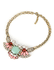 Aquamarine Multicolor Wintage Big Jewel Design Alloy Korean Necklaces