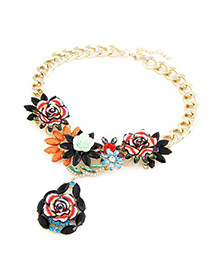 Brown Black Blooming Rose Flowers Decorated Design Alloy Fashion Necklaces