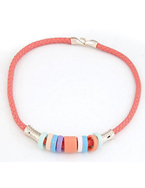 Corduroy Watermelon Red Candy Circles Decorated Design CCB Korean Necklaces
