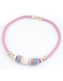 Stretch Pink Candy Circles Decorated Design CCB Korean Necklaces
