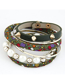 Business Green Rivet Pearl Decorated Multilayer Design Alloy Fashion Bangles