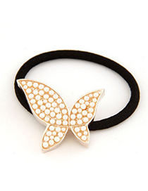Memorial White Full Of Pearl Butterfly Shape Decorated Alloy Hair band hair hoop