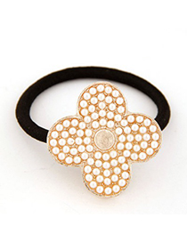 Rebel White Four Petal Grass Decorated Design Alloy Hair band hair hoop