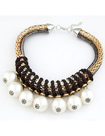 Boutique White Pearl Pendant Design Alloy Fashion Necklaces