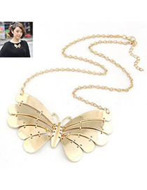 Players Gold Color Metal Butterfly Pendant Design Alloy Korean Necklaces