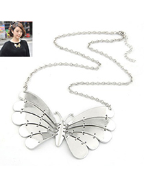 Polaris Silver Color Metal Butterfly Pendant Design Alloy Korean Necklaces