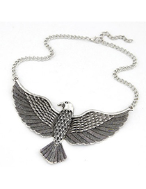Mink Antique Silver Vintage Eagle Pendant Design Alloy Bib Necklaces