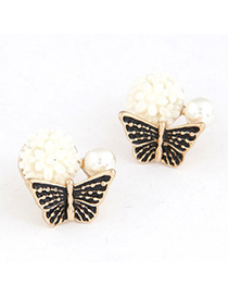 Mobile Black Butterfly Kisses Flower Sweet Design Alloy Stud Earrings