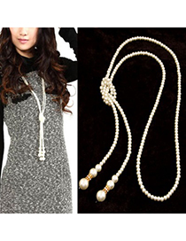 Dangle Gold Color Long Imitation Pearl Simple Design