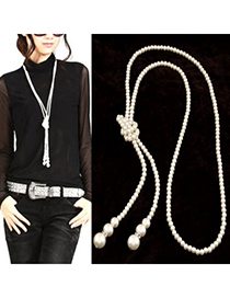 Fashion White+pink Pealrs&tassel Decorated Multi-layer Necklace