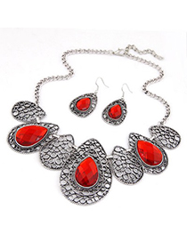 Fashion Gold Color Flower Decorated Hollow Out Jewelry Sets