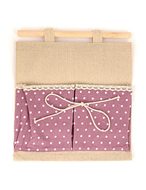 Free Purple Double Bags Dot Pattern Design Cotton Household goods