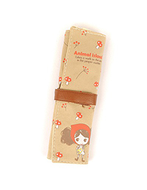 Hemming Apricot Guitar Pattern Design Canvas Pencil Case Paper Bags