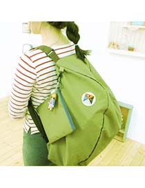 Fashion Silver Color Rivet Decorated Ear Shape Pure Color Simple Backpack