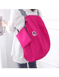 Fashion Pink Zipper&sequins Decorated Pure Color Simple Backpack