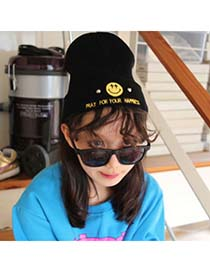 Active Black Embroidery Smiling Faces Rivet Knitting Wool Fashion Hats