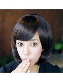 Hydraulic Nature Black Bobo Style With Tilted Bang High-Temp Fiber Wigs