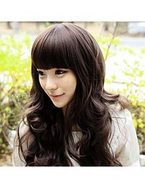 Moving Nature Black Long Curly Design High-Temp Fiber Wigs