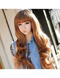 Spiritual Light Brown Long Curly Design High-Temp Fiber Wigs