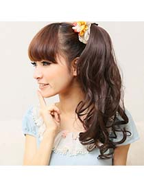 Portable Dark Brown Slightly Curled Ponytail High-Temp Fiber Wigs