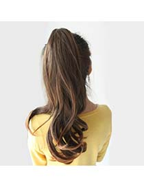 Expression Light Brown Slightly Curled Ponytail