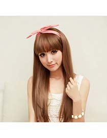 Political Light Brown Hairs Banged No Temples High-Temp Fiber Wigs