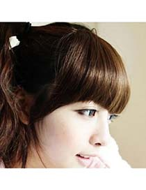 Lightest Light Brown Hairs Banged With Temples High-Temp Fiber Wigs