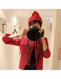 Attractive Claret-Red Simple Candy Color Design Knitting Wool Knitting Wool Hats