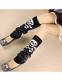 Smart Black Cartoon Skull Design Knitting Wool Fashion Gloves