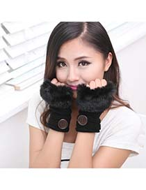 Elephant Black Half Fingerless Design Knitting Wool Fingerless Gloves
