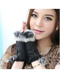 Nice Black Thicken Warth Fingerless Knitting Wool Fashion Gloves