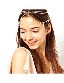 Fashion Gold Color Pure Color Decorated Simple Hair Chain