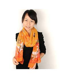 Mobile Yellow Animals Pattern Design Voile Fashion Scarves
